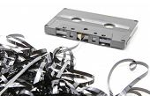 foto of backround  - Isolated old audio cassette and white backround - JPG