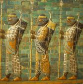 stock photo of babylonia  - Babylonian archers Assyrian mosaic tiles museum in Berlin Germany
