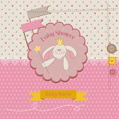 Baby Shower or Arrival Card - Baby Bunny Girl - in vector