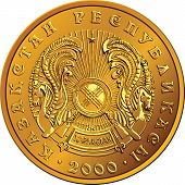 image of yurt  - Kazakh money gold coin with the arms  - JPG
