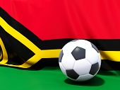 Flag Of Vanuatu With Football In Front Of It