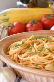 Spaghetti With Organic Tomato Sauce And Parsley poster