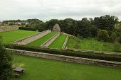 The Dovecote and garden terraces at Aberdour Castle, Fife, Scotland