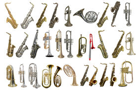 foto of wind instrument  - The image of wind instruments isolated under a white background - JPG