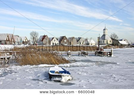 Traditional village Durgerdam in wintertime in the Netherlands