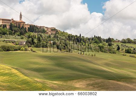Town of Pienza in Tuscany Italy and the rolling hills of the valley