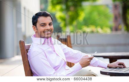 Friendly Guy Using Cellphone