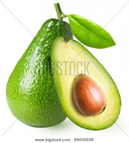 Avocado with leaf isolated on a white background.