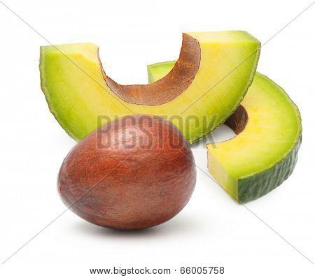 Avocado slice isolated on a white background.