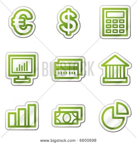 Finance web icons, green contour series