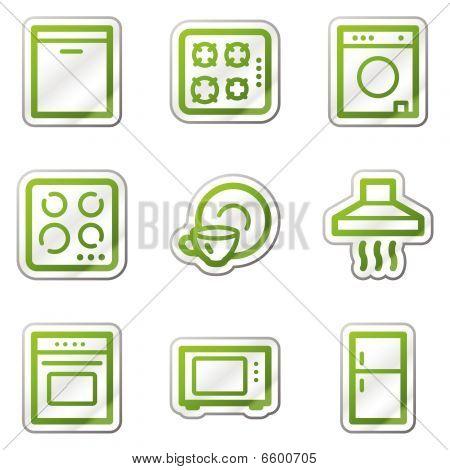 Home appliances web icons, green contour series