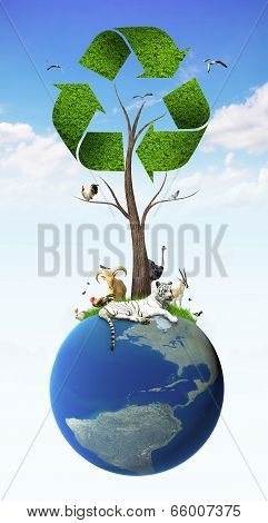 Tree As A Recycle Symbol With Animal