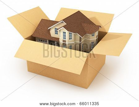 Moving House. Real Estate Market. Three-dimensional Image.