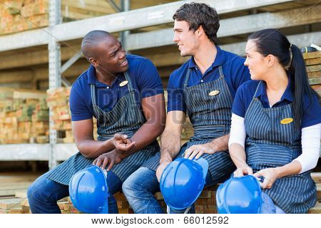 hardware store workers chatting during break