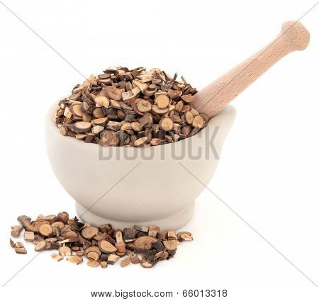 Cinammon twigs chinese herbal medicine in a stone mortar with pestle over white background. Gui zhi.