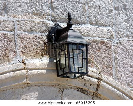 Lamplight On White Brick Wall