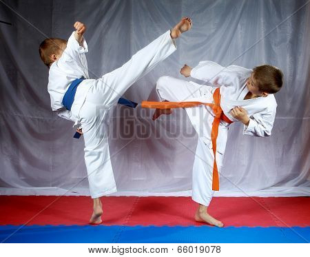 Sportsmen are training blows legs on the mat