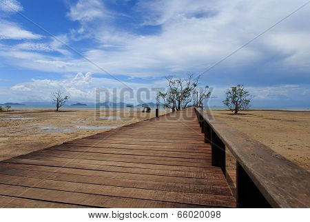 Bridge Over The Sea During Ebb Tide