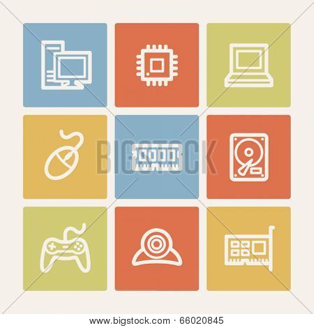 Computer web icons, color square buttons