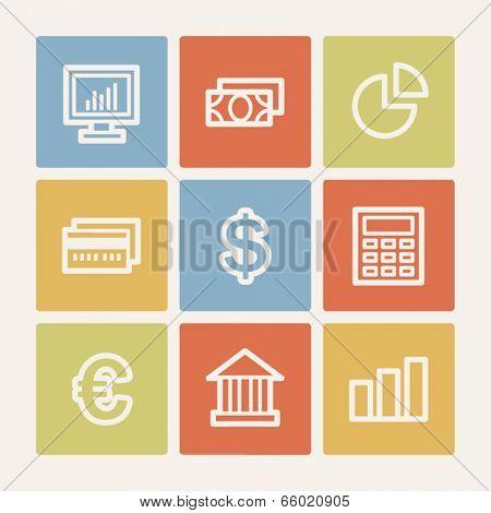 Finance web icon set 1, color square buttons