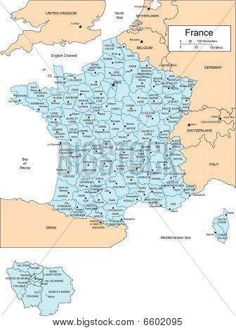 France with Administrative Districts and Surrounding Countries