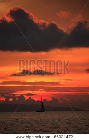 Red Sunset In Sihanoukville, Cambodia