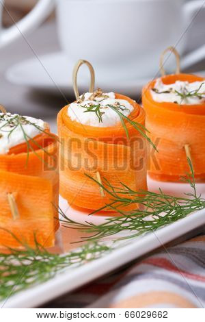 Carrot Rolls Stuffed With Feta Cheese. Vertical