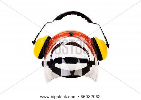 Headphones and protective mask.
