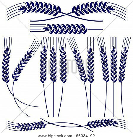 Ears of wheat and rye  icon  set vector  illustration