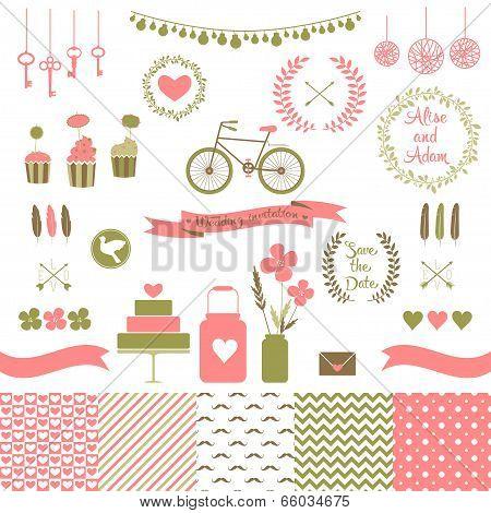 Set for wedding design. Love elements for your design