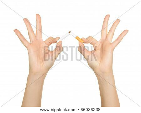 Woman's Hand Crushing Cigarettes