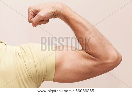 Strong Male Arm Shows Biceps. Closeup Photo