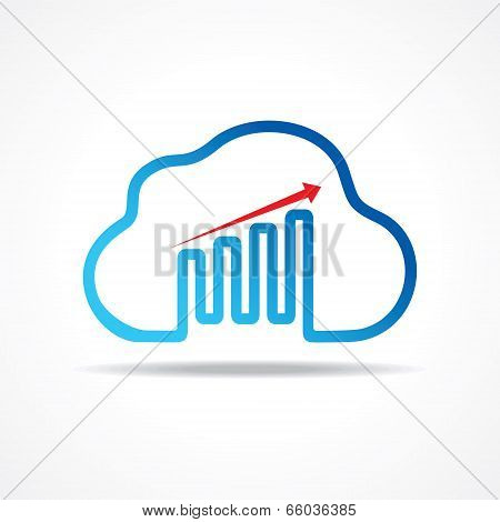 business growth graph design with cloud design concept vector