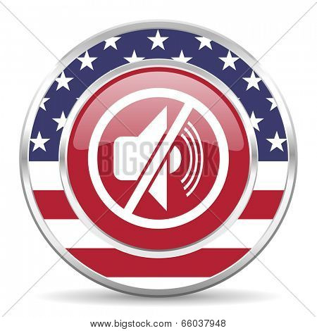 mute american icon, usa flag
