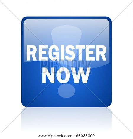 register now blue computer icon on white background