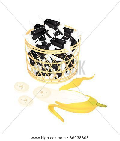 A Brown Basket Of Sweet Banana Candies