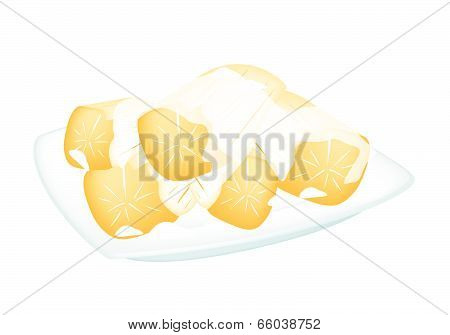 Potato In Coconut Milk On White Background