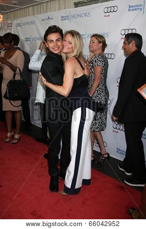 LOS ANGELES - JUN 1:  Jake T. Austin, Teri Polo at the 7th Annual Television Academy Honors at SLS Hotel on June 1, 2014 in Los Angeles, CA