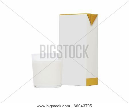 Glass Of Milk And Brick Isolated On White