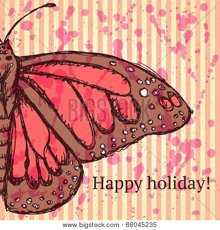 Sketch Butterfly, Vector Vintage Background