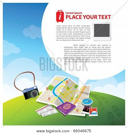 Travel Kits With Speech Bubble Illustration