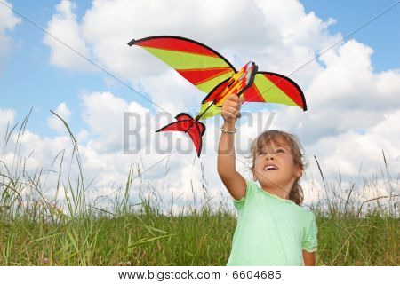 Little Girl Plays Kite On Meadow