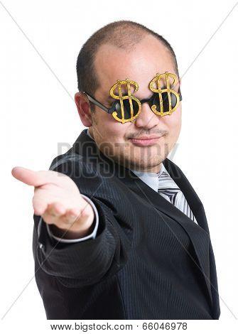 Rich man open plam hand