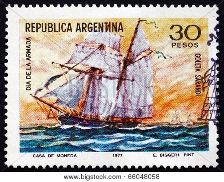 Postage Stamp Argentina 1977 Schooner Sarandi, By Emilio Biggeri