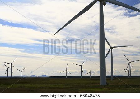 Wind turbines in a remote area of Scotland, Europe