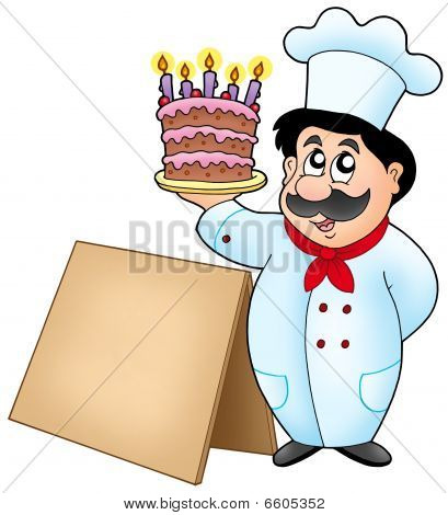 Chef Holding Cake With Wooden Table
