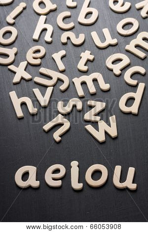 AEIOU Wooden Letters