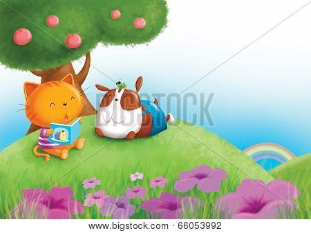 Cat, dog and grass hopper