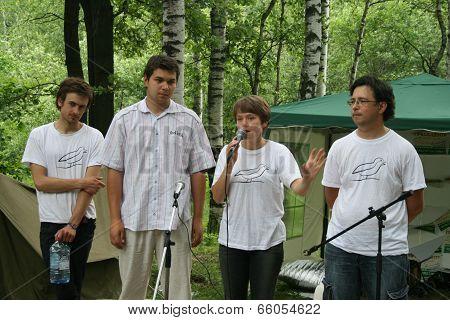 Peter Verzilov, Yevgenia Chirikova, Oleg Melnikov, Oleg Kozyrev At The Forum Of Civil Activists Anti