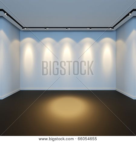 A 3D render illustration of empty white room with spotlight lamps.
